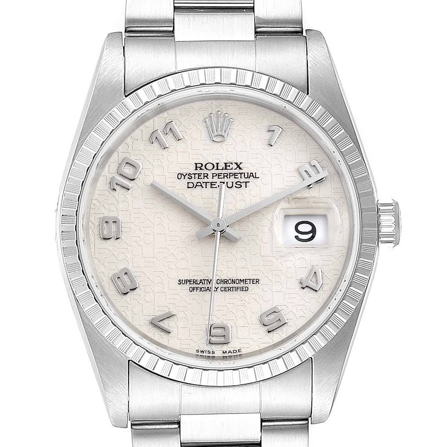 Rolex Datejust Anniversary Dial Oyster Bracelet Steel Mens Watch 16220 SwissWatchExpo