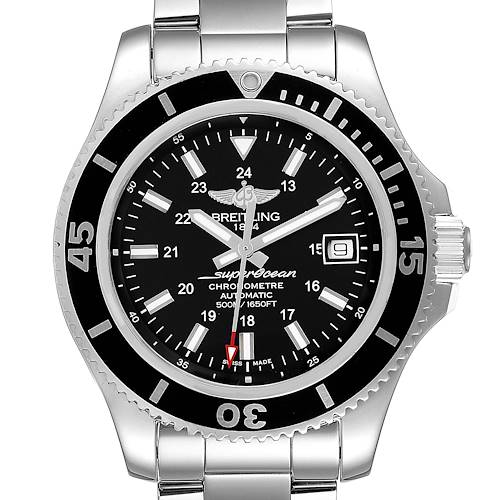 Breitling Superocean II Black Dial Steel Mens Watch A17365 Box