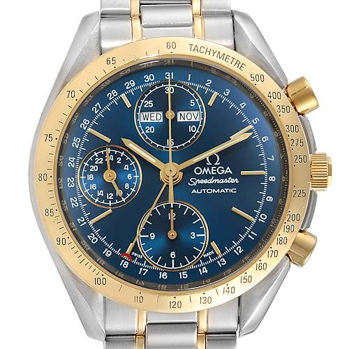 Photo of Omega Speedmaster Day Date Steel Yellow Gold Mens Watch 3321.80.00 Card