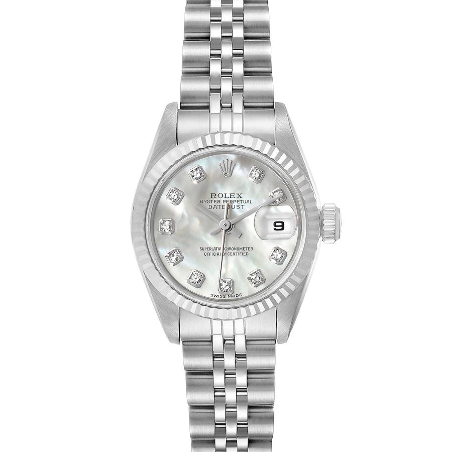 Rolex Datejust Steel White Gold MOP Diamond Dial Ladies Watch 69174 Box SwissWatchExpo