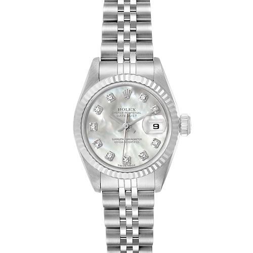 Photo of Rolex Datejust Steel White Gold MOP Diamond Dial Ladies Watch 69174 Box