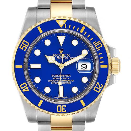 Photo of Rolex Submariner Steel 18K Yellow Gold Blue Dial Mens Watch 116613 Box Papers