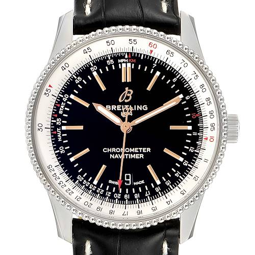 Photo of Breitling Navitimer 1 Black Dial 41mm Steel Mens Watch A17326 Box Papers