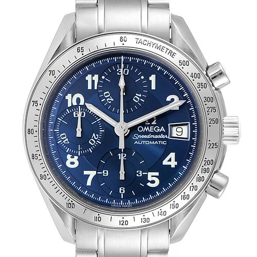 Photo of Omega Speedmaster Date 39 Blue Dial Chronograph Mens Watch 3513.82.00