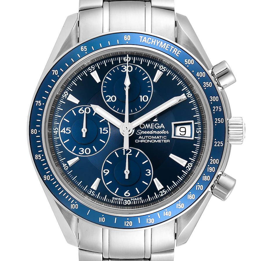 Omega Speedmaster Date Blue Dial Chronograph Mens Watch 3212.80.00 SwissWatchExpo