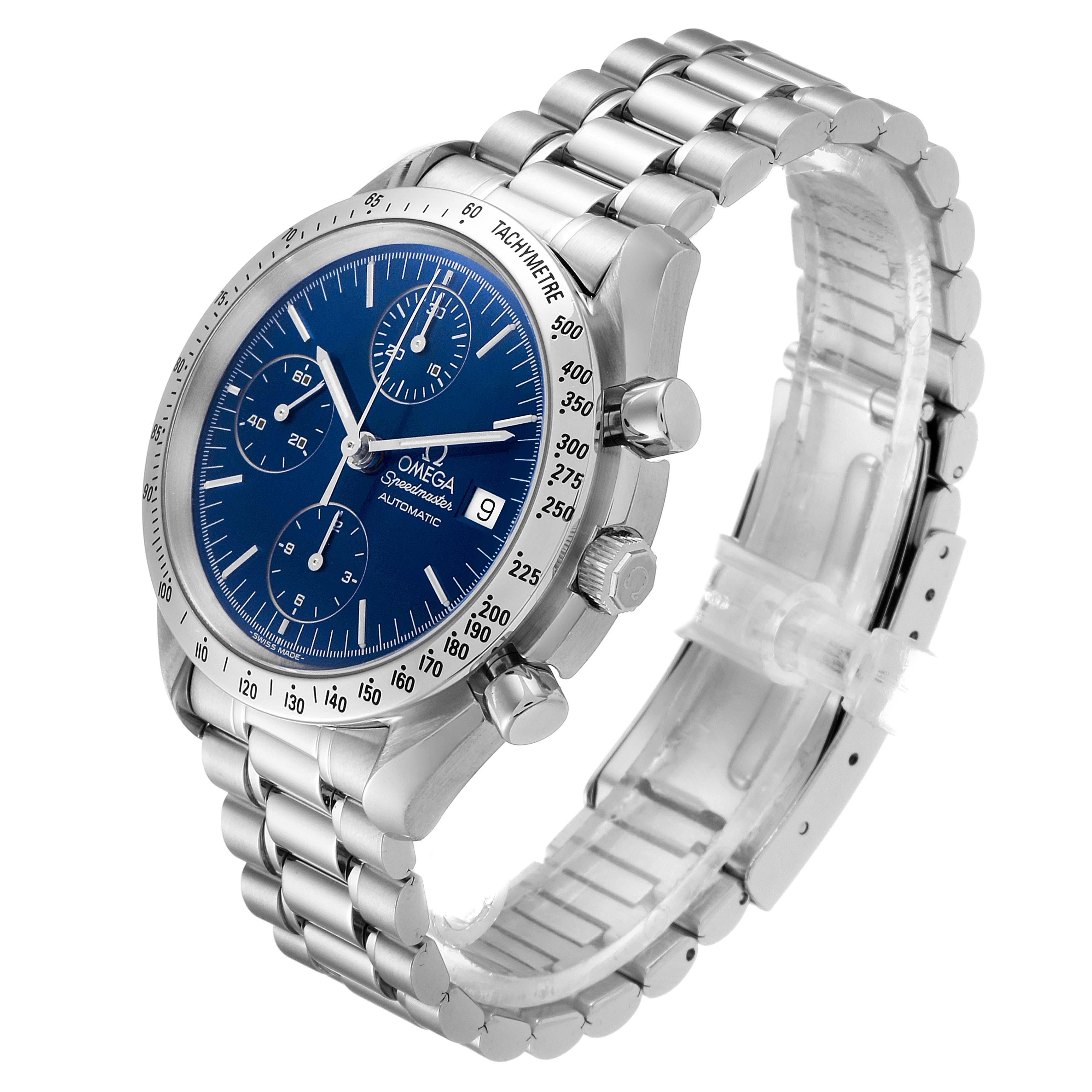 Omega Speedmaster Date Blue Dial Chronograph Mens Watch 3511.80.00 SwissWatchExpo