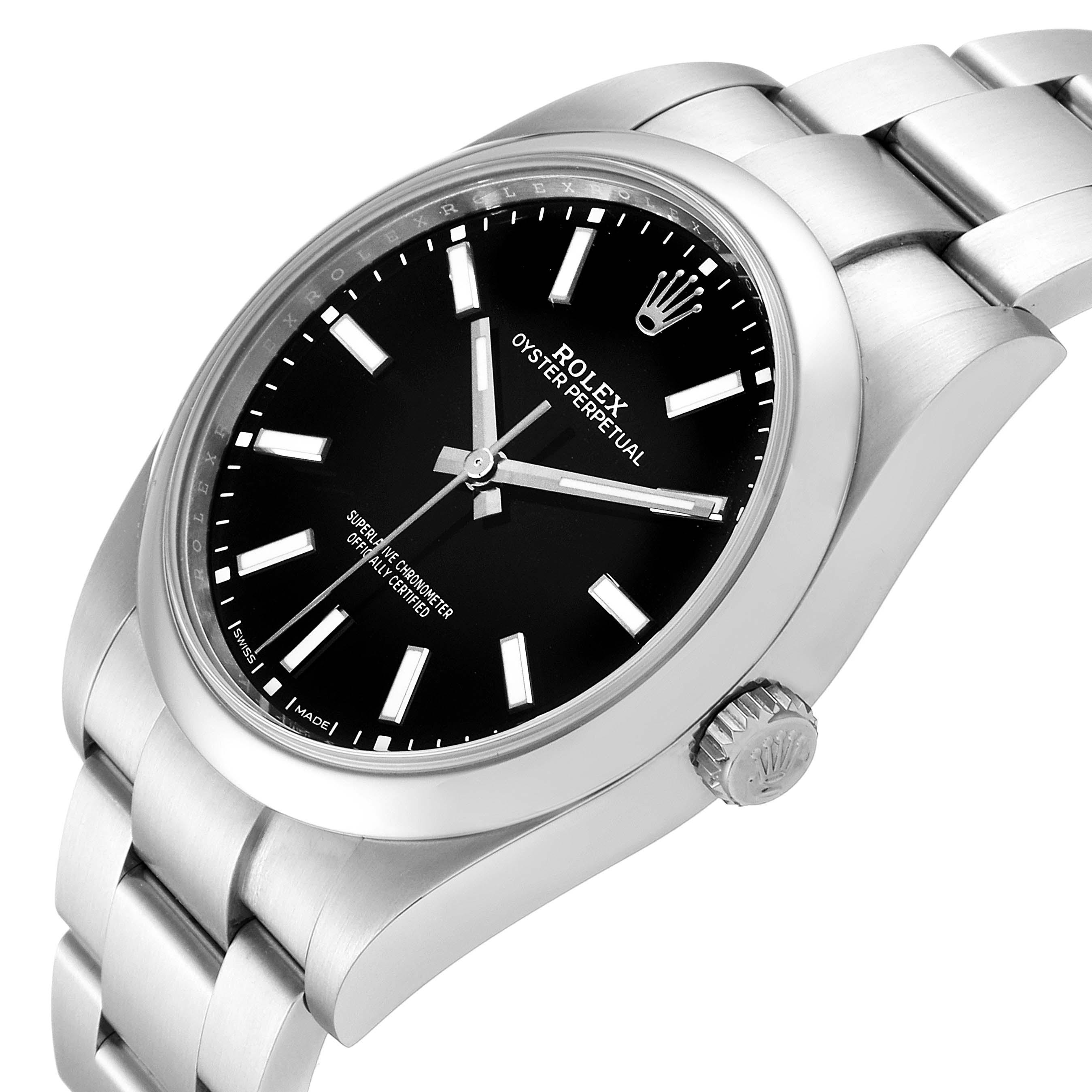 Rolex Oyster Perpetual 39 Black Dial Steel Mens Watch 114300 Unworn SwissWatchExpo