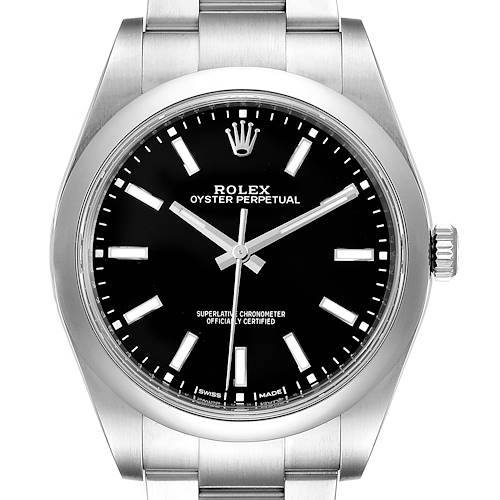 Photo of Rolex Oyster Perpetual 39 Black Dial Steel Mens Watch 114300 Unworn