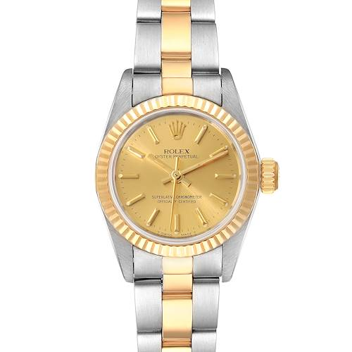 Photo of Rolex Oyster Perpetual Fluted Bezel Steel Yellow Gold Ladies Watch 67193 Box Pap