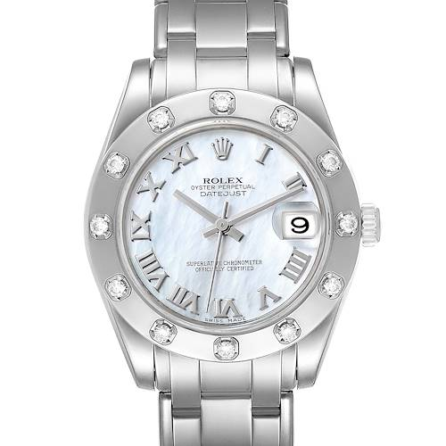 Photo of Rolex Pearlmaster Midsize MOP White Gold Diamond Ladies Watch 81319