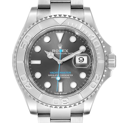 Photo of Rolex Yachtmaster Steel Platinum Rhodium Dial Mens Watch 126622 Box Card