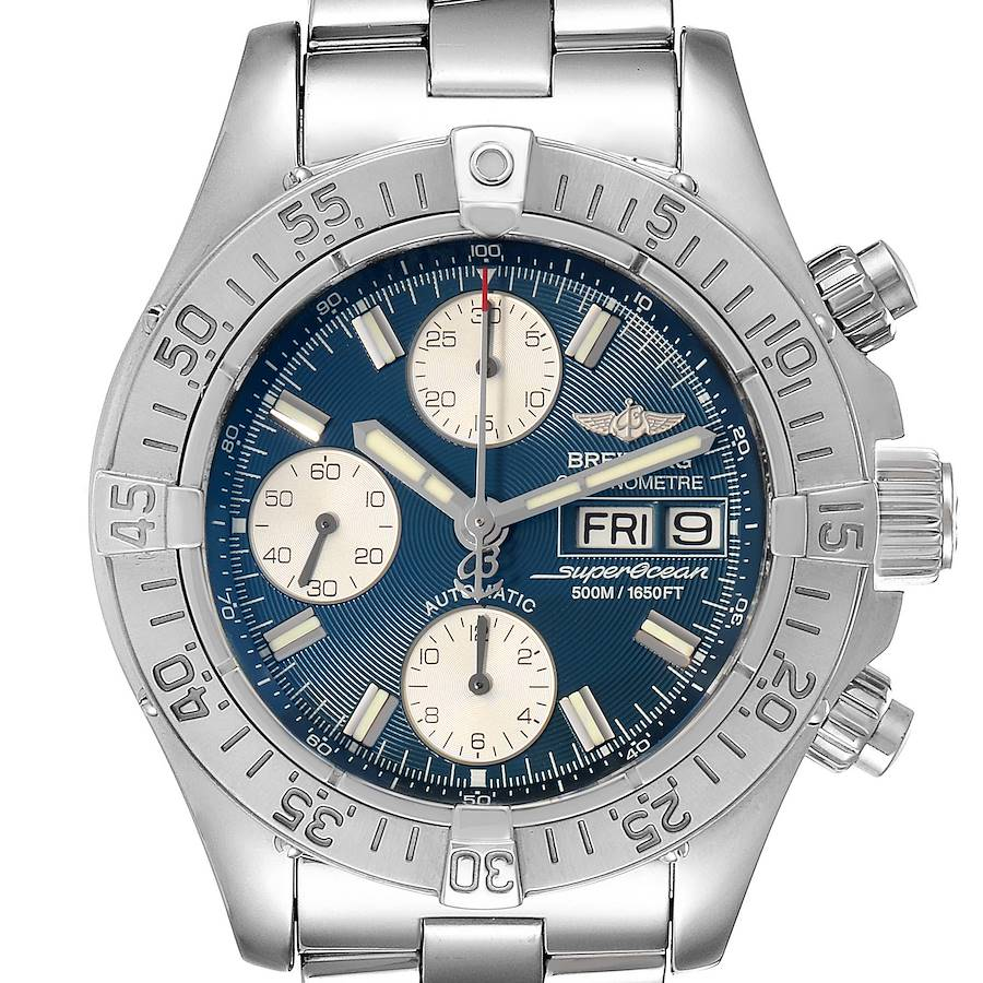 Breitling Aeromarine Superocean Blue Dial Mens Watch A13340 Box Papers SwissWatchExpo