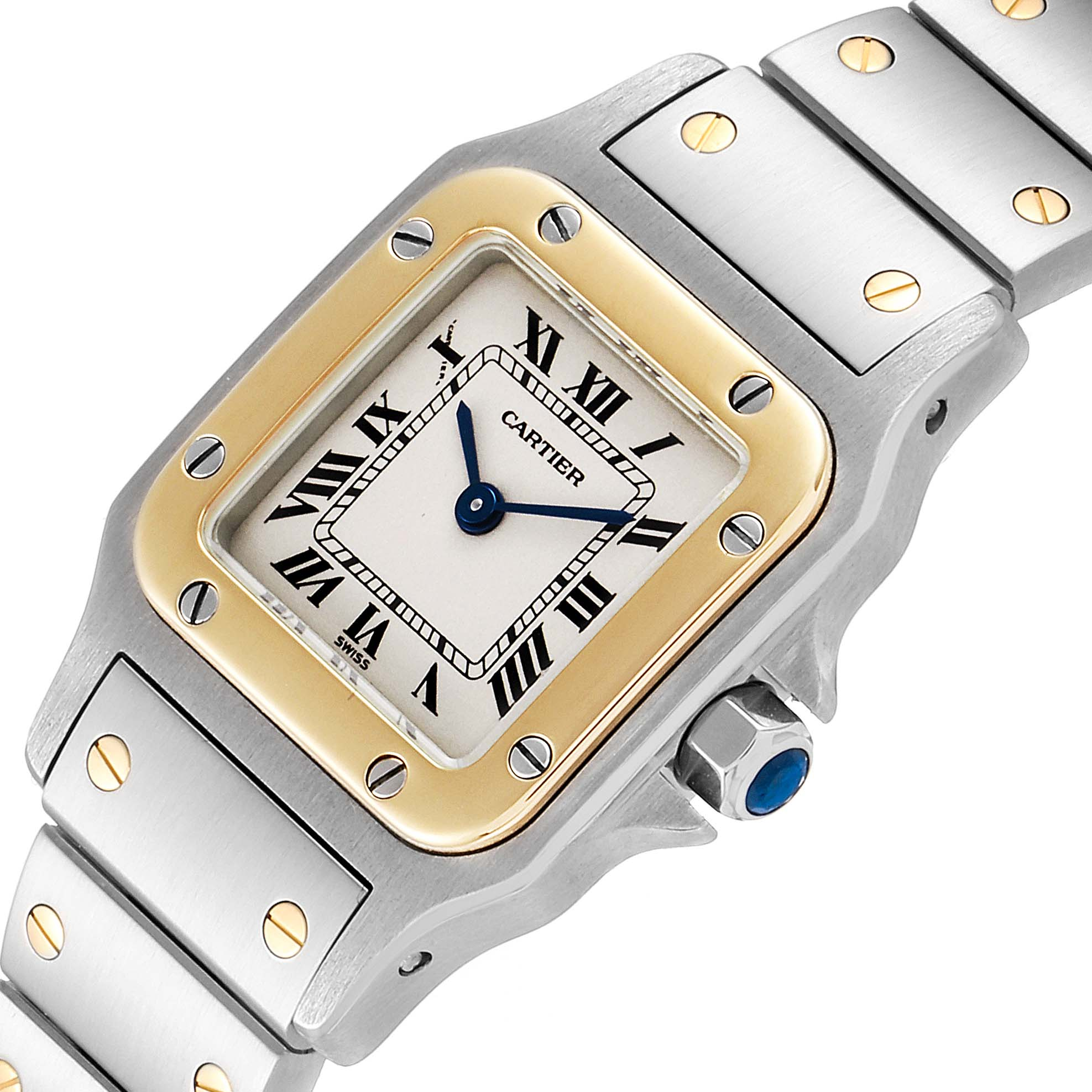 Cartier Santos Galbee Steel Yellow Gold Ladies Watch W20012C4 Box Papers SwissWatchExpo