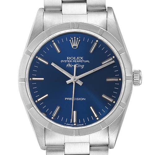 Rolex Air King 34mm Blue Dial Oyster Bracelet Mens Watch 14010