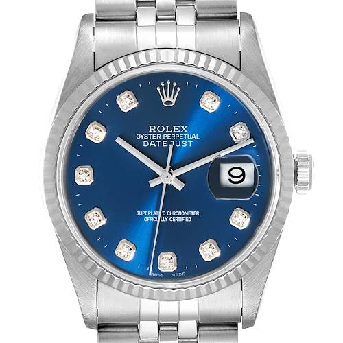 Photo of Rolex Datejust 36 Steel White Gold Blue Diamond Dial Mens Watch 16234 Box Papers