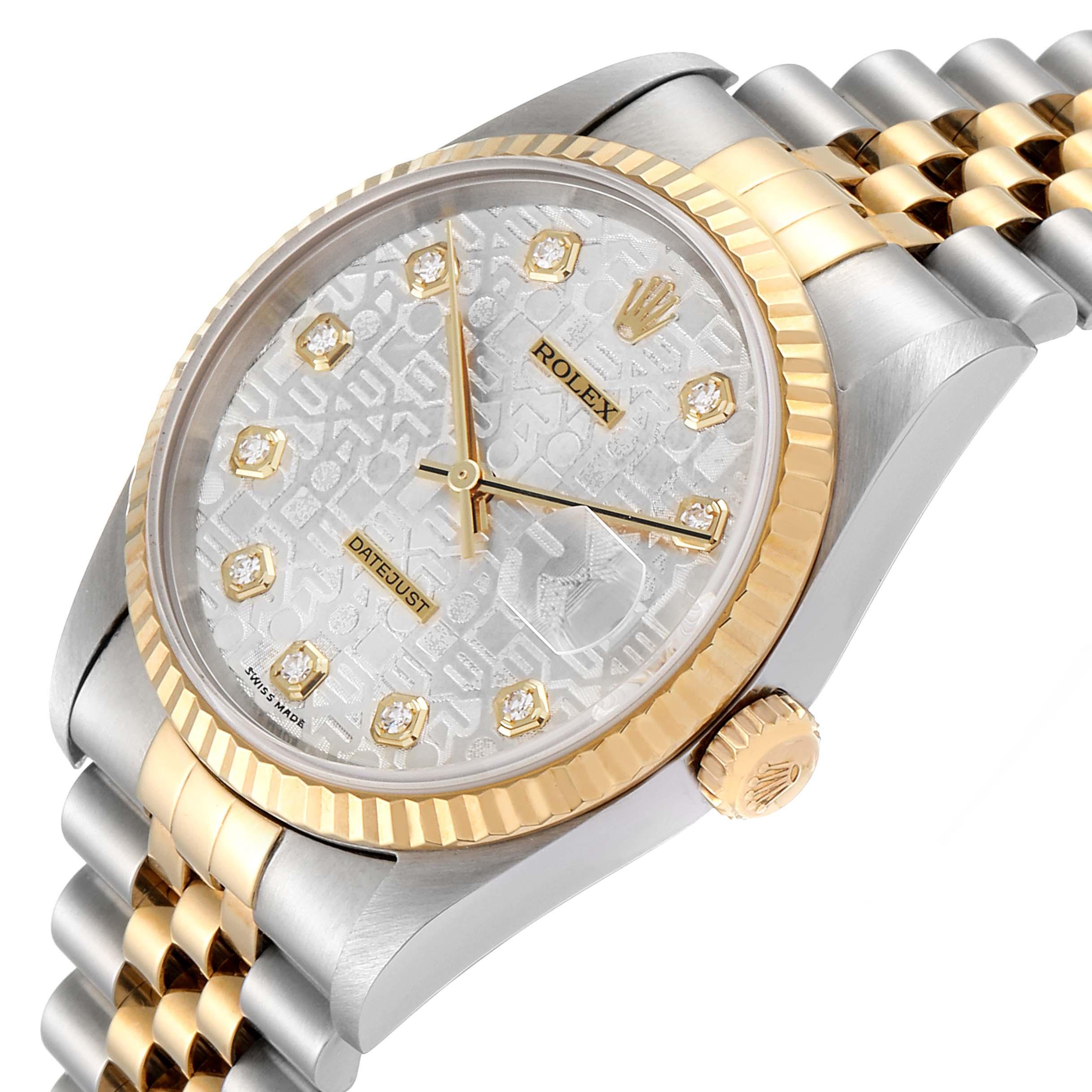 Rolex Datejust Steel 18K Yellow Gold Diamond Dial Mens Watch 16233 SwissWatchExpo