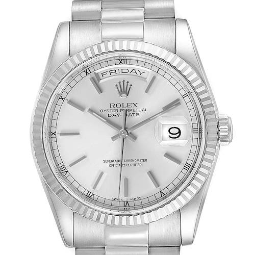 Photo of Rolex Day Date 36mm President White Gold Silver Dial Mens Watch 118239 Box