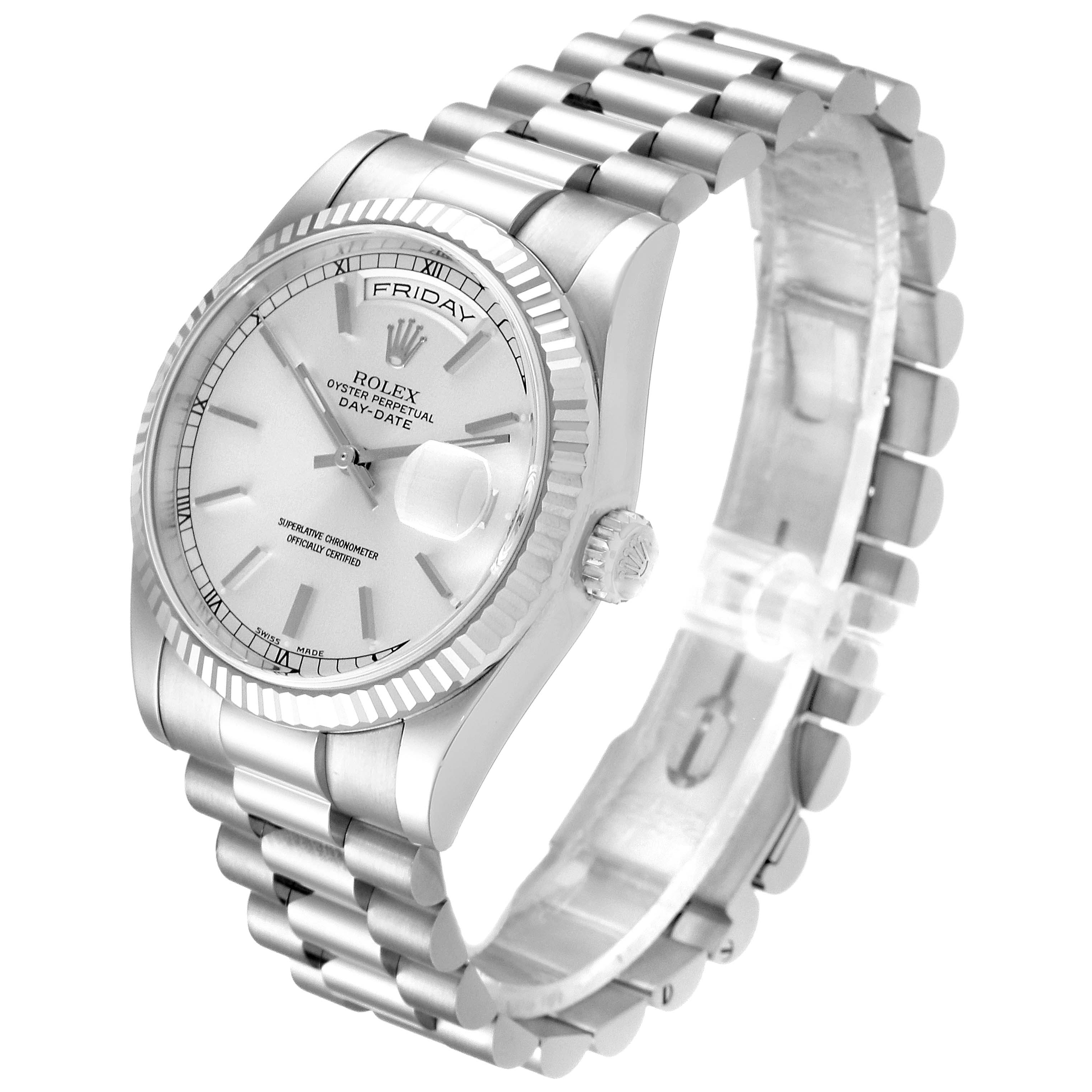 Rolex Day Date 36mm President White Gold Silver Dial Mens Watch 118239 Box SwissWatchExpo
