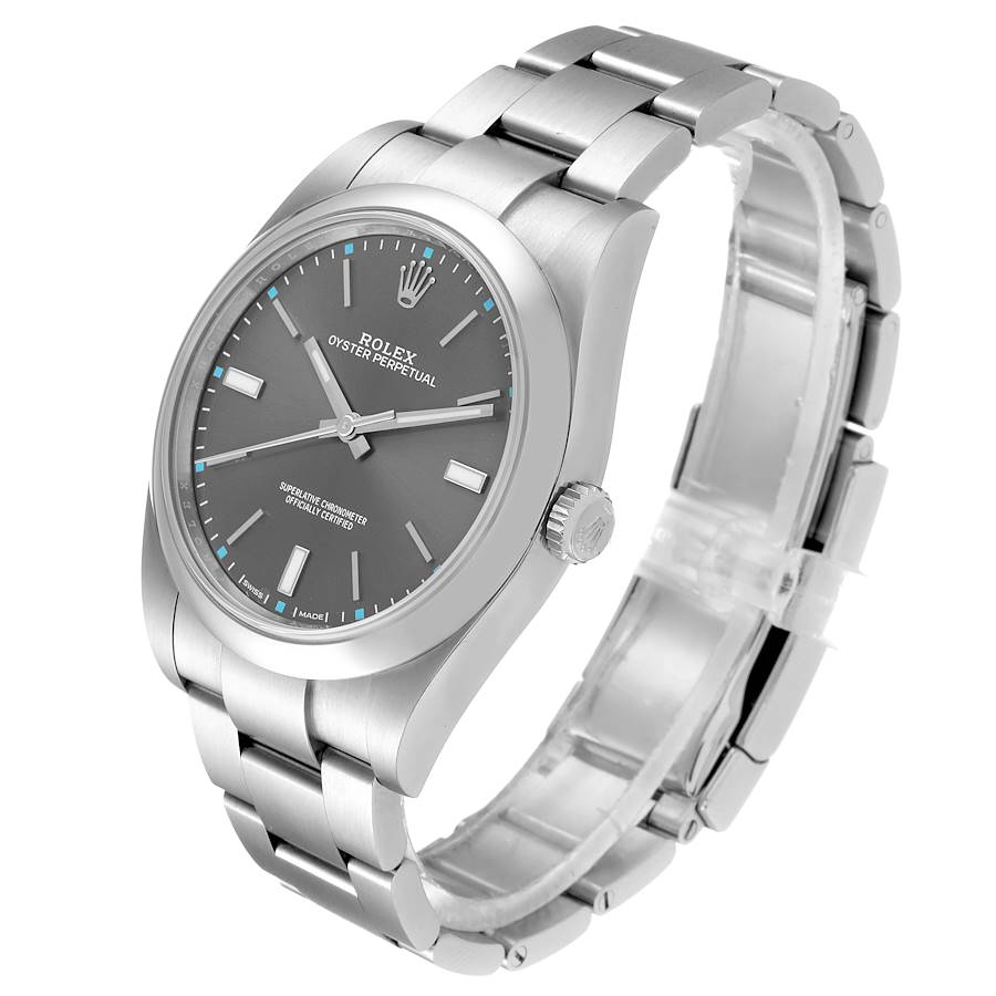 Rolex Oyster Perpetual 39 Rhodium Dial Steel Mens Watch 114300 Box SwissWatchExpo