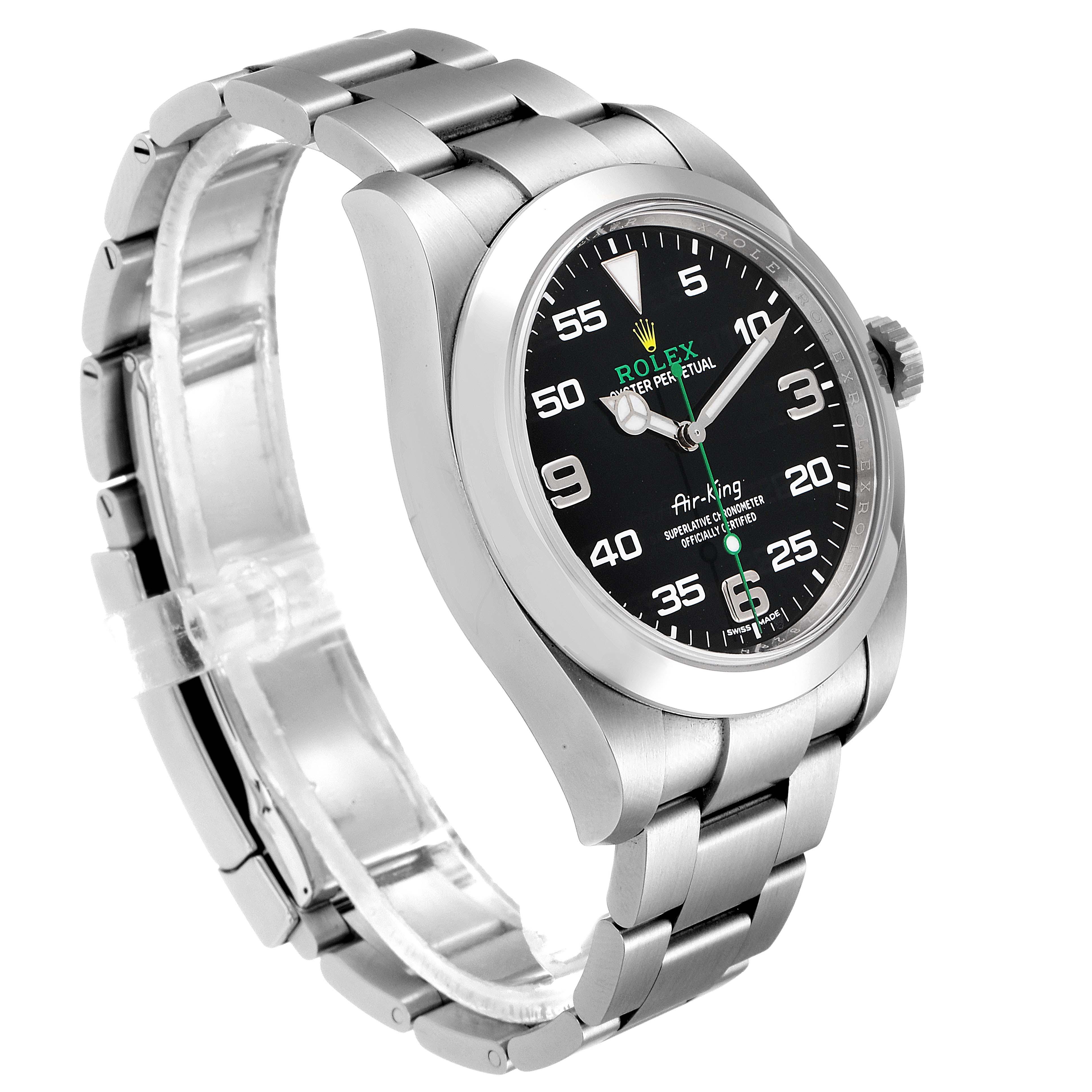 Rolex Oyster Perpetual Air King Black Dial Steel Watch 116900 Box Card Unworn SwissWatchExpo