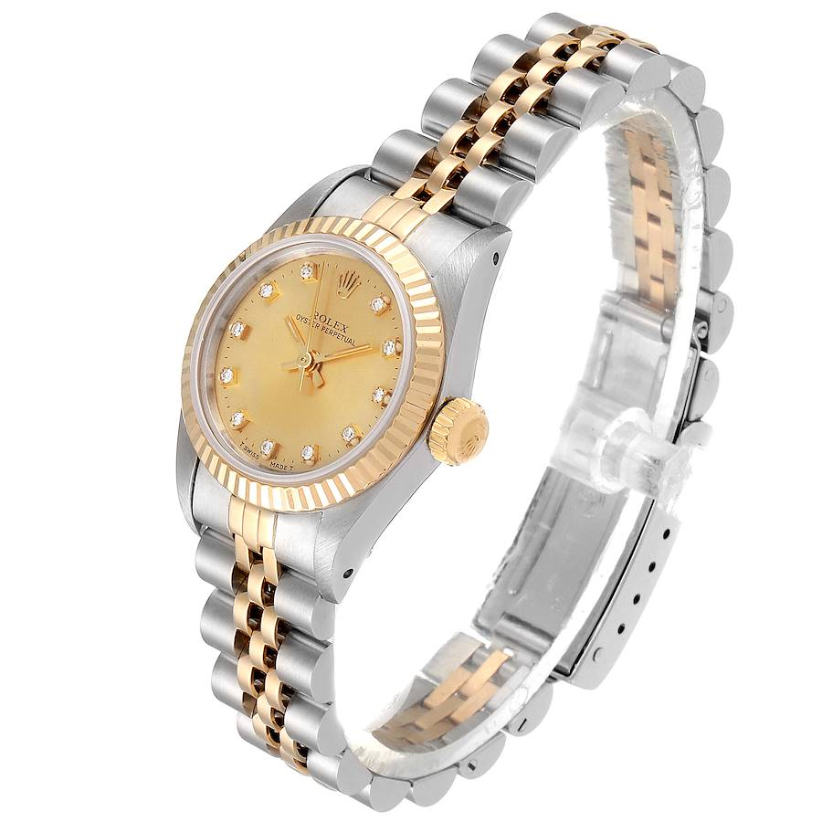 Rolex Oyster Perpetual Steel Yellow Gold Diamond Ladies Watch 67193 Box SwissWatchExpo