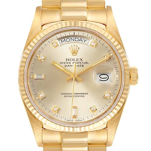 Photo of Rolex President Day-Date 36mm Yellow Gold Silver Dial Mens Watch 18038 Box