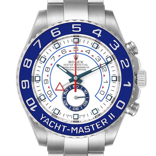 Photo of Rolex Yachtmaster II 44 Blue Cerachrom Bezel Mens Watch 116680 Box