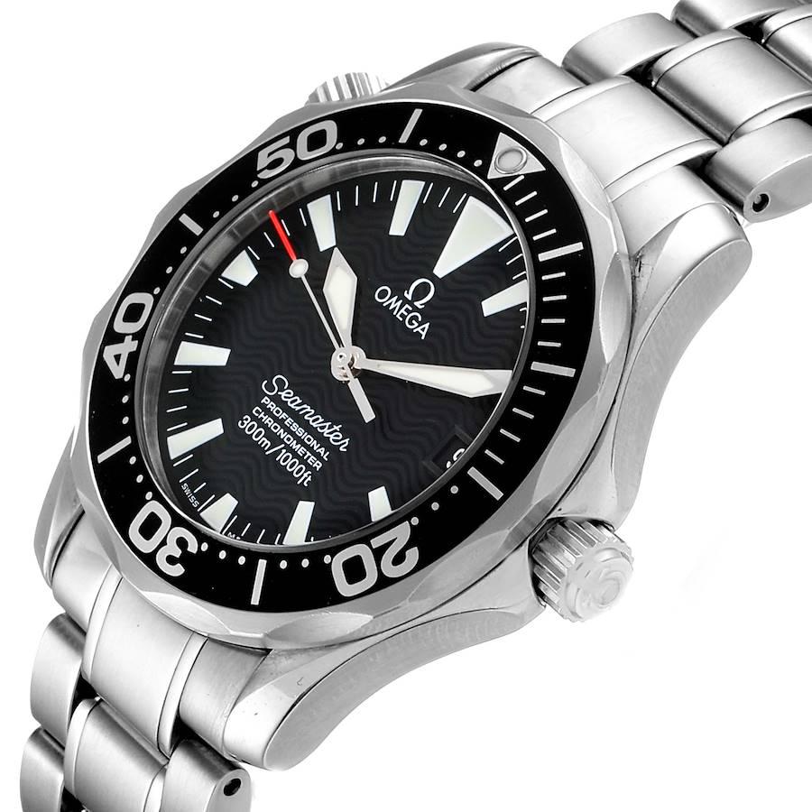 Omega Seamaster 36mm Midsize Black Wave Dial Steel Watch 2252.50.00 SwissWatchExpo