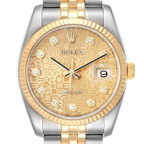 Photo of Rolex Datejust 36 Steel Yellow Gold Diamond Mens Watch 116233 Box Papers