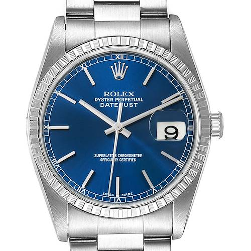 Photo of Rolex Datejust Blue Dial Oyster Bracelet Steel Mens Watch 16200
