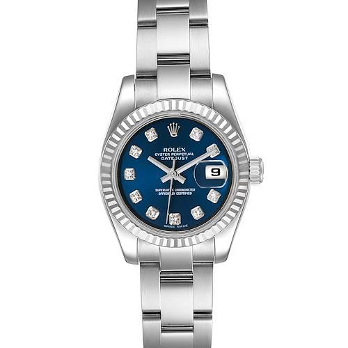 Photo of Rolex Datejust Steel White Gold Blue Diamond Dial Ladies Watch 179174
