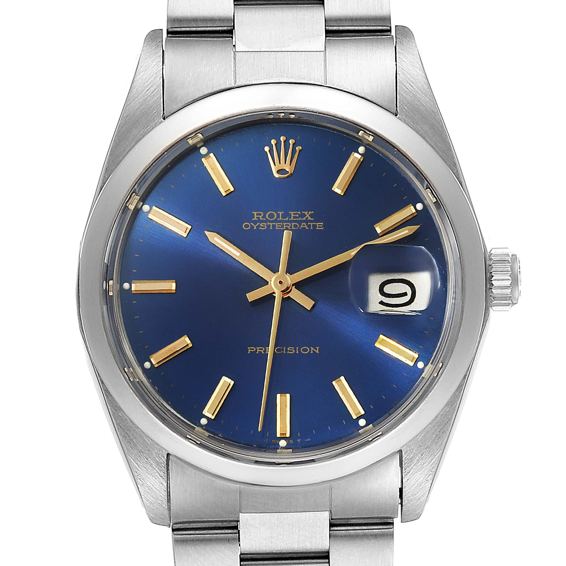 Rolex OysterDate Precision Blue Dial Steel Vintage Mens Watch 6694 SwissWatchExpo