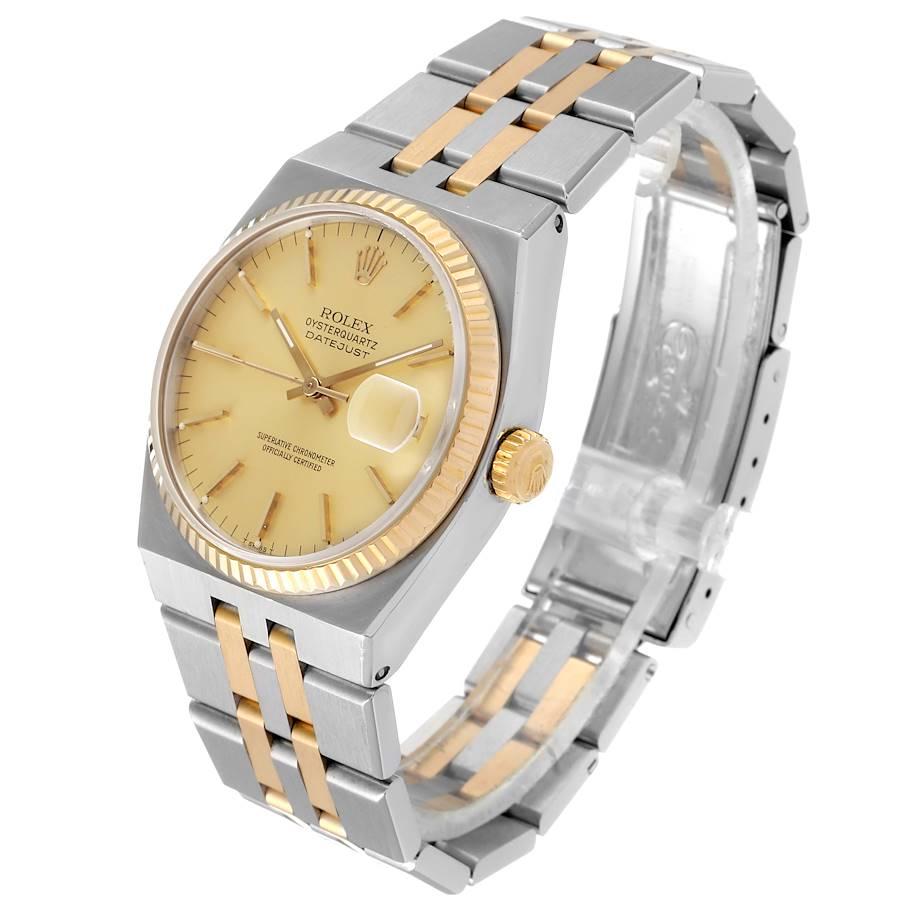 Rolex Oysterquartz Datejust 36mm Steel Yellow Gold Mens Watch 17013 SwissWatchExpo