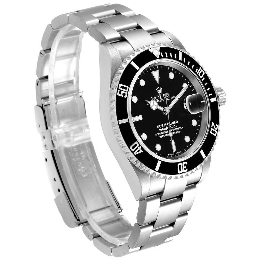 Rolex Submariner Black Dial Stainless Steel Mens Watch 16610 Box SwissWatchExpo