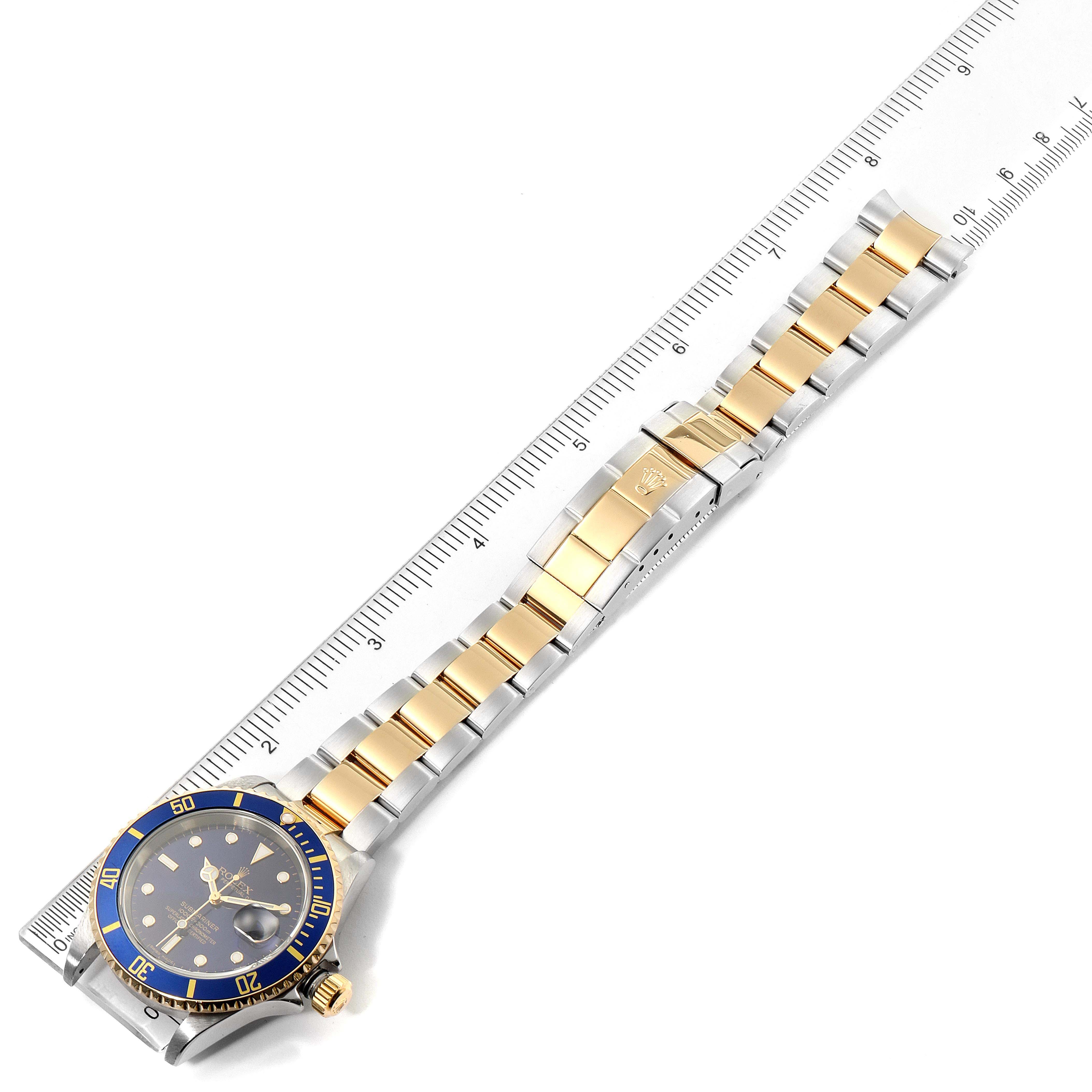Rolex Submariner Blue Dial Steel Yellow Gold Mens Watch 16613 Box SwissWatchExpo