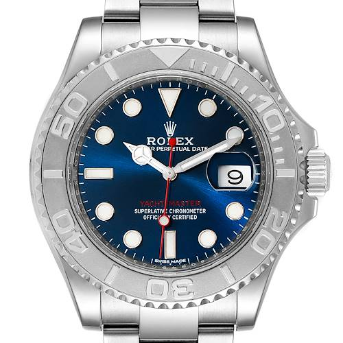 Photo of Rolex Yachtmaster 40mm Steel Platinum Blue Dial Mens Watch 116622 Box Card