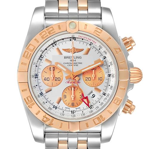 Photo of Breitling Chronomat Evolution 44 GMT Steel Rose Gold Mens Watch CB0420 Box