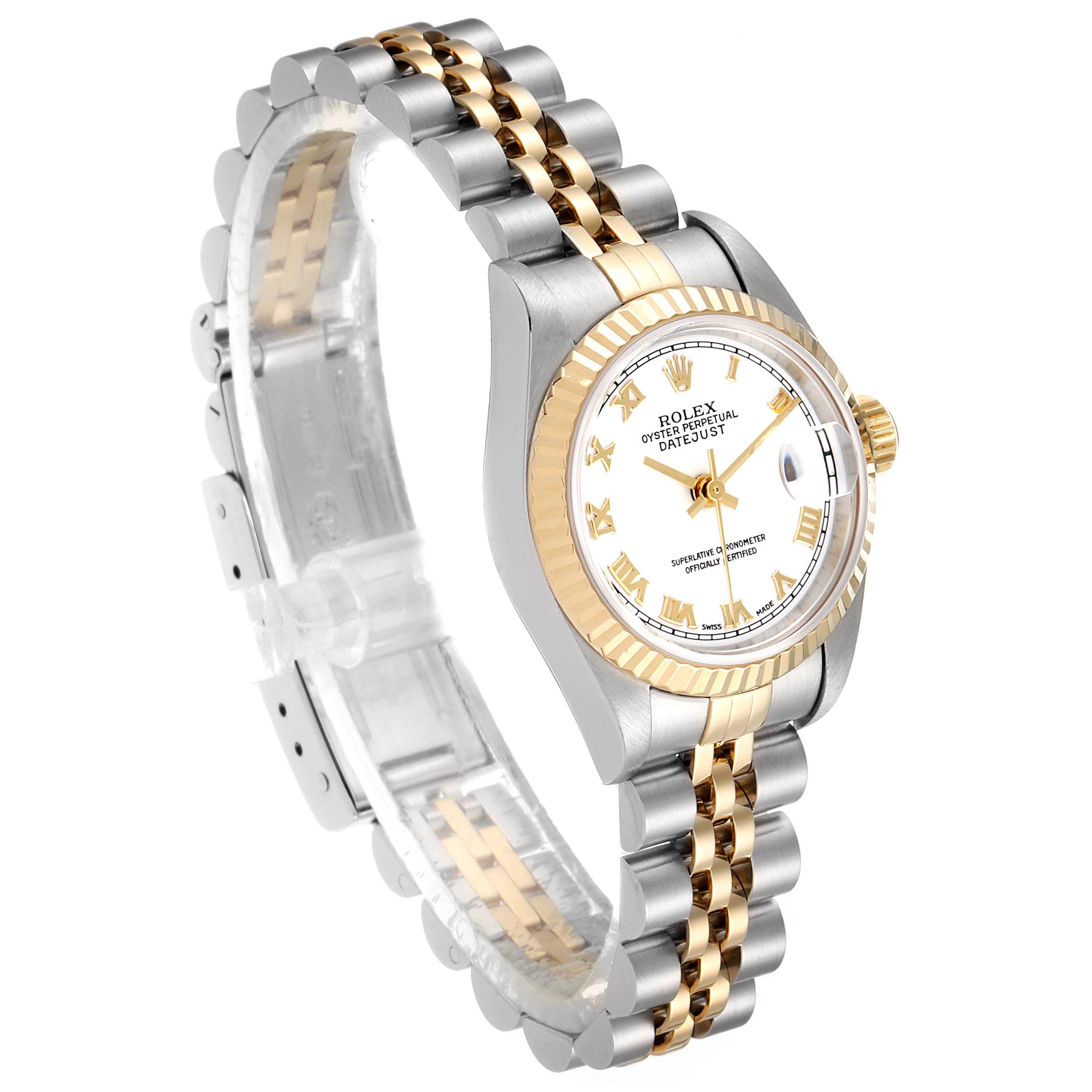 Rolex Datejust 26 Steel Yellow Gold White Dial Ladies Watch 79173 Box Papers SwissWatchExpo