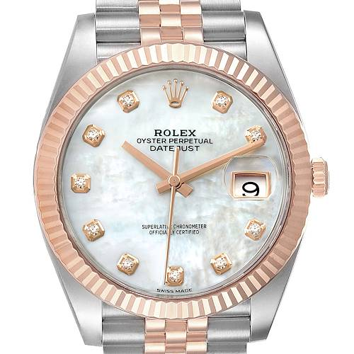 Photo of Rolex Datejust 41 Steel Everose Gold Diamond Dial Watch 126331 Box Card