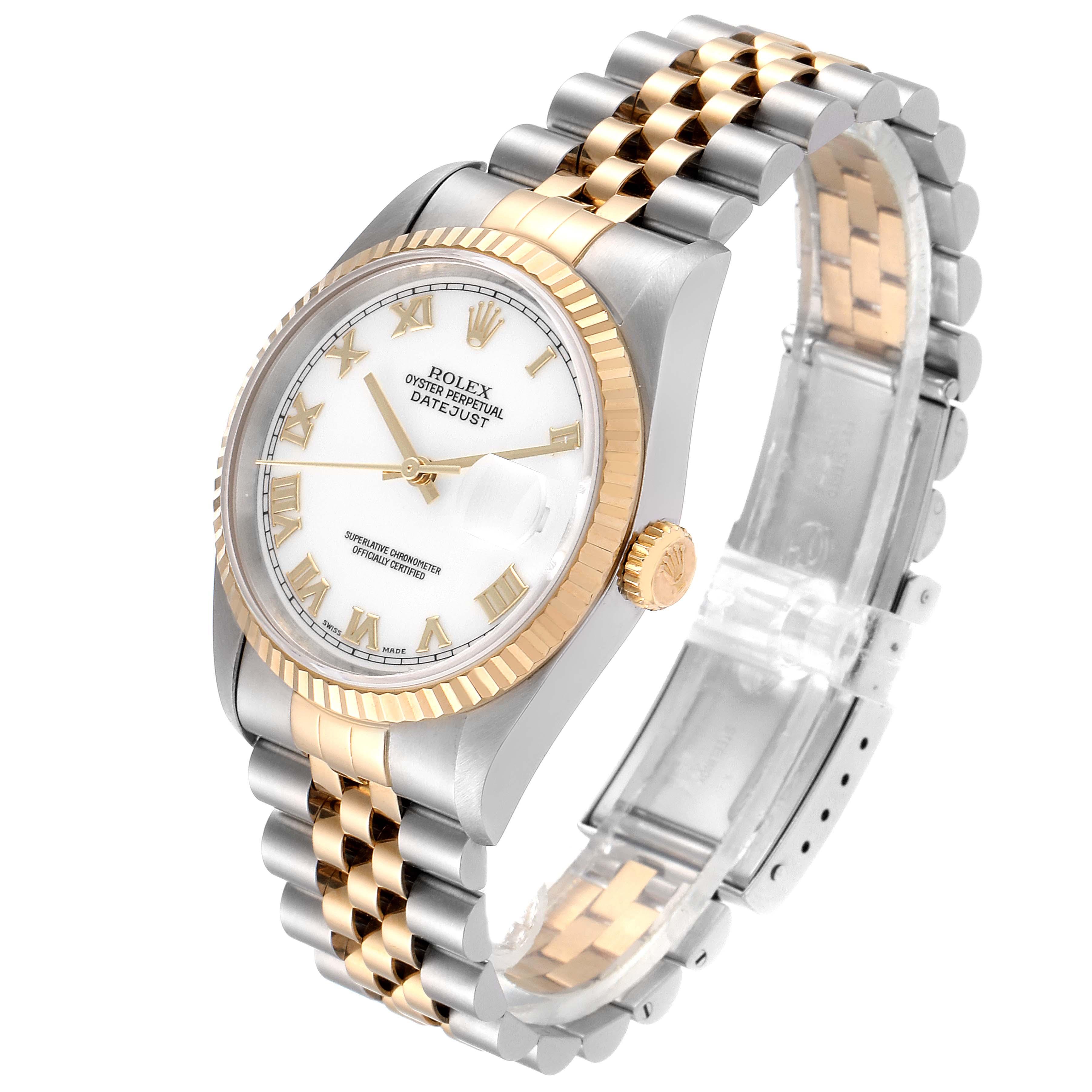 Rolex Datejust Steel Yellow Gold White Dial Mens Watch 16233 SwissWatchExpo