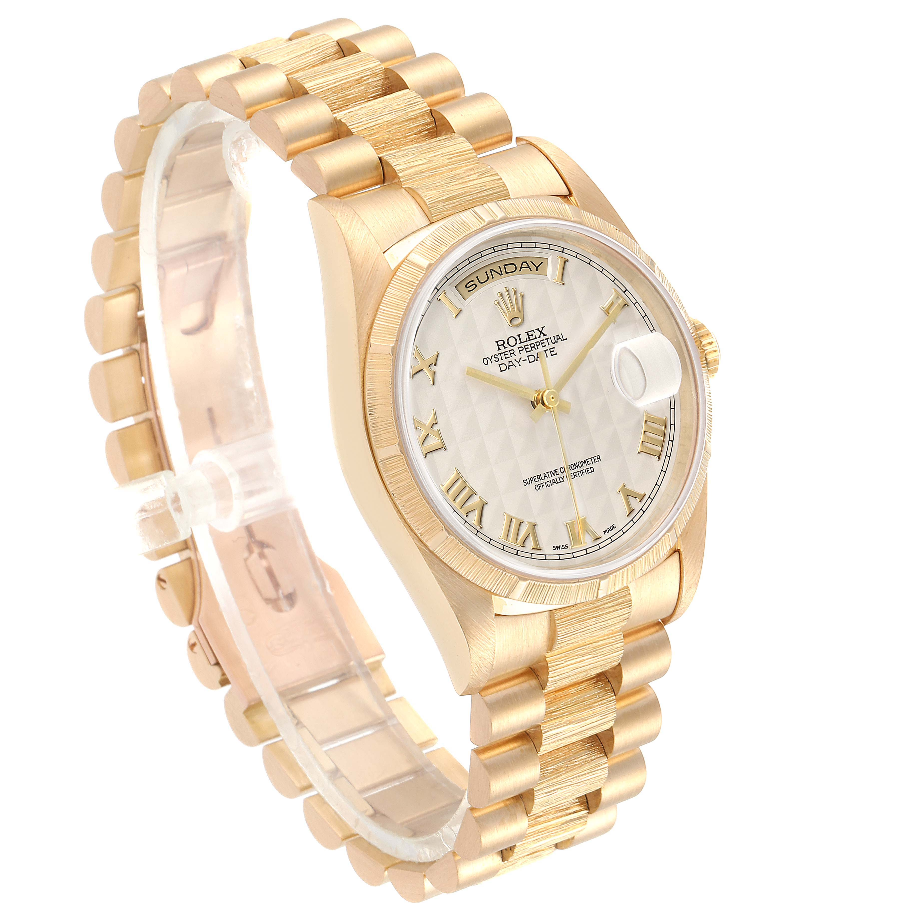 Rolex Day-Date President Yellow Gold Silver Pyramid Dial Mens Watch 18248 Box SwissWatchExpo