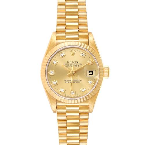 Photo of Rolex President Datejust Yellow Gold Diamond Ladies Watch 69178