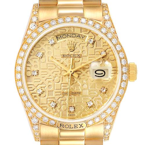 Photo of Rolex President Day-Date 18k Yellow Gold Diamond Mens Watch 18138