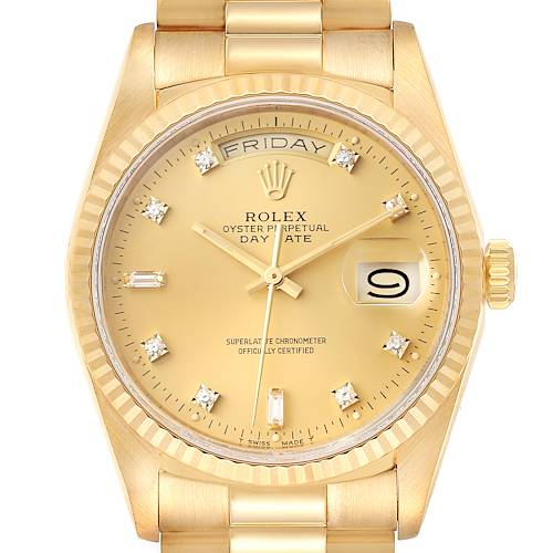 Photo of Rolex President Day-Date 36mm Yellow Gold Diamond Mens Watch 18238 Box Papers