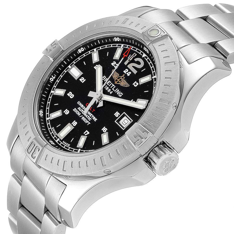 Breitling Colt Black Dial Automatic Steel Mens Watch A17388 Box SwissWatchExpo