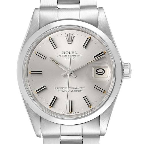 Photo of Rolex Date Stainless Steel Silver Dial Vintage Mens Watch 1500