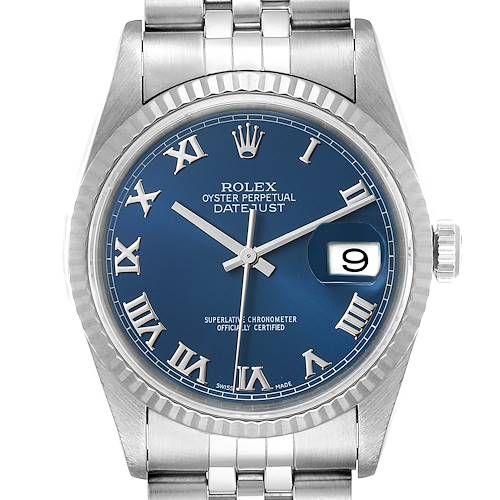 Photo of Rolex Datejust 36 Steel White Gold Blue Dial Mens Watch 16234
