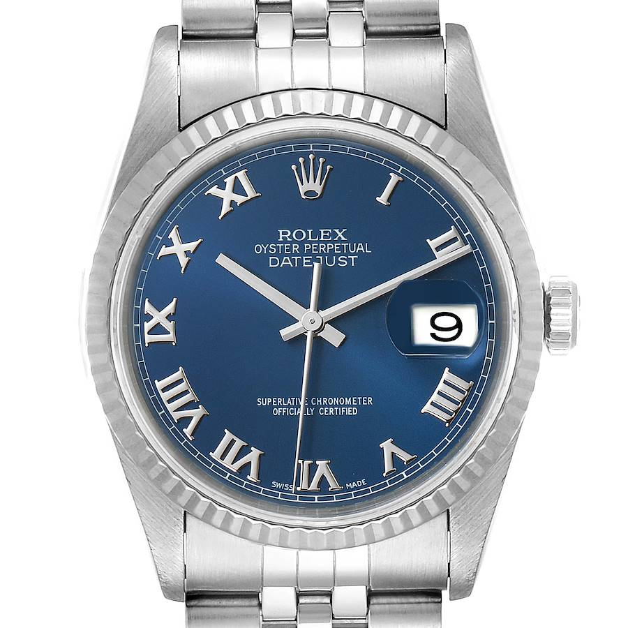 Rolex Datejust 36 Steel White Gold Blue Dial Mens Watch 16234 SwissWatchExpo