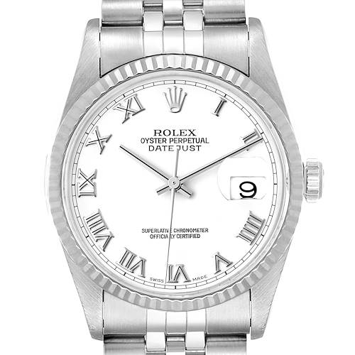 Photo of Rolex Datejust 36 Steel White Gold Fluted Bezel Mens Watch 16234