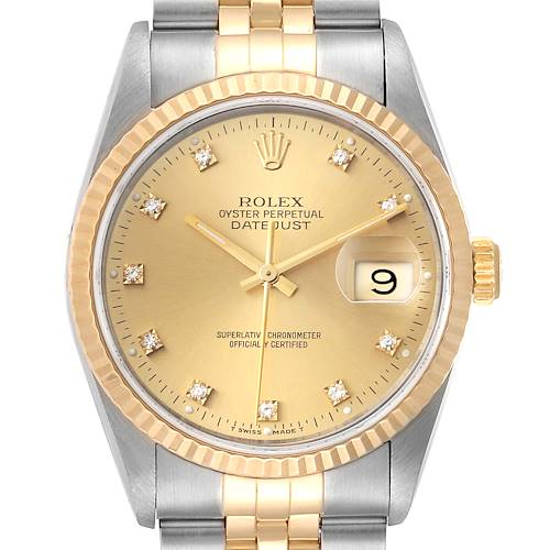 Photo of Rolex Datejust 36 Steel Yellow Gold Diamond Mens Watch 16233 Papers